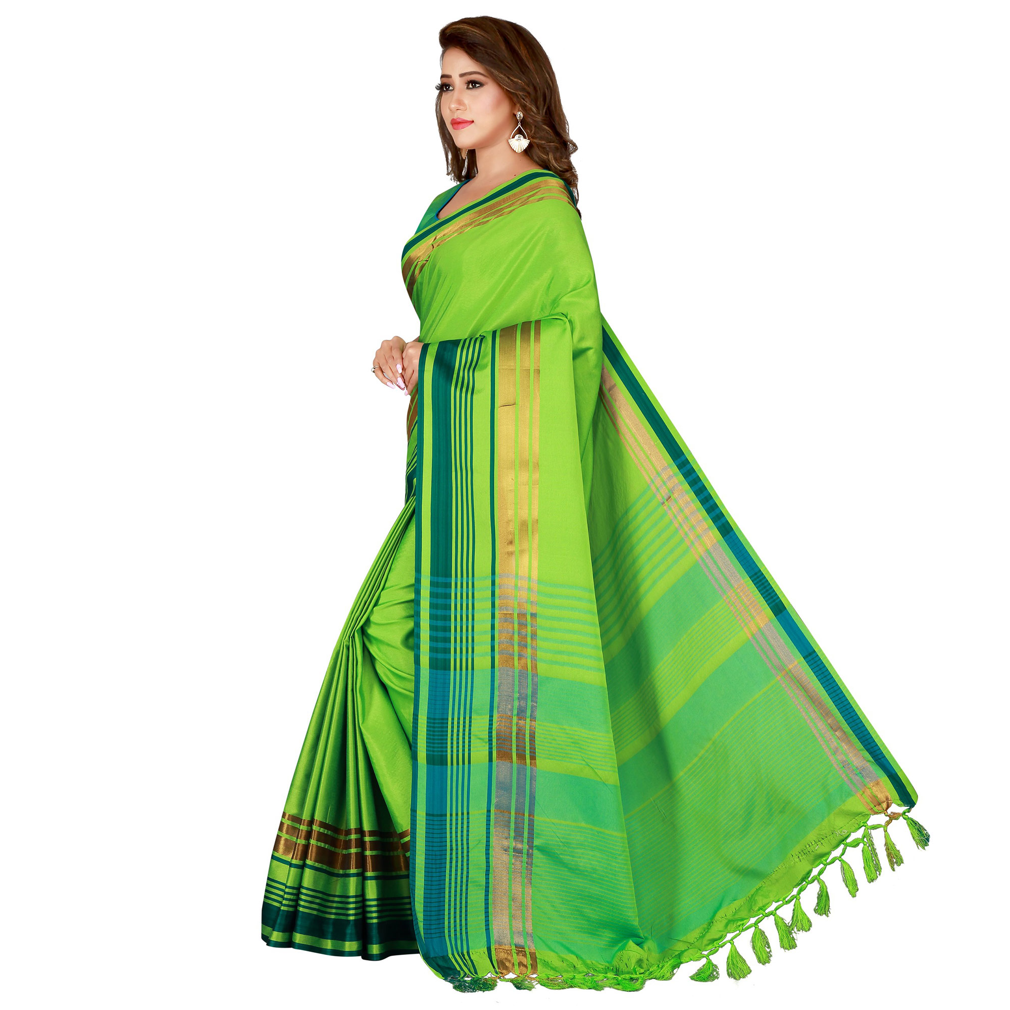 Charming Green Colored Casual Wear Cotton Saree