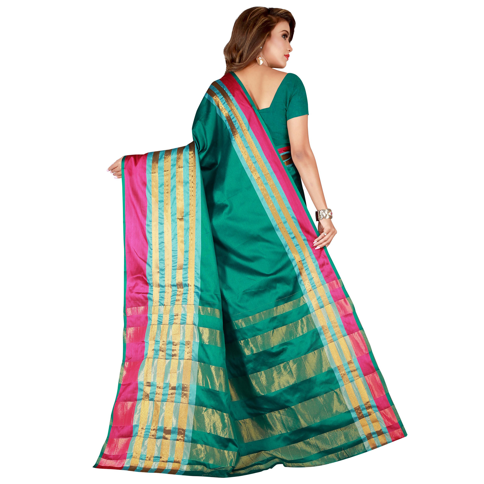 Delightful Turquoise Green Colored Casual Wear Cotton Saree