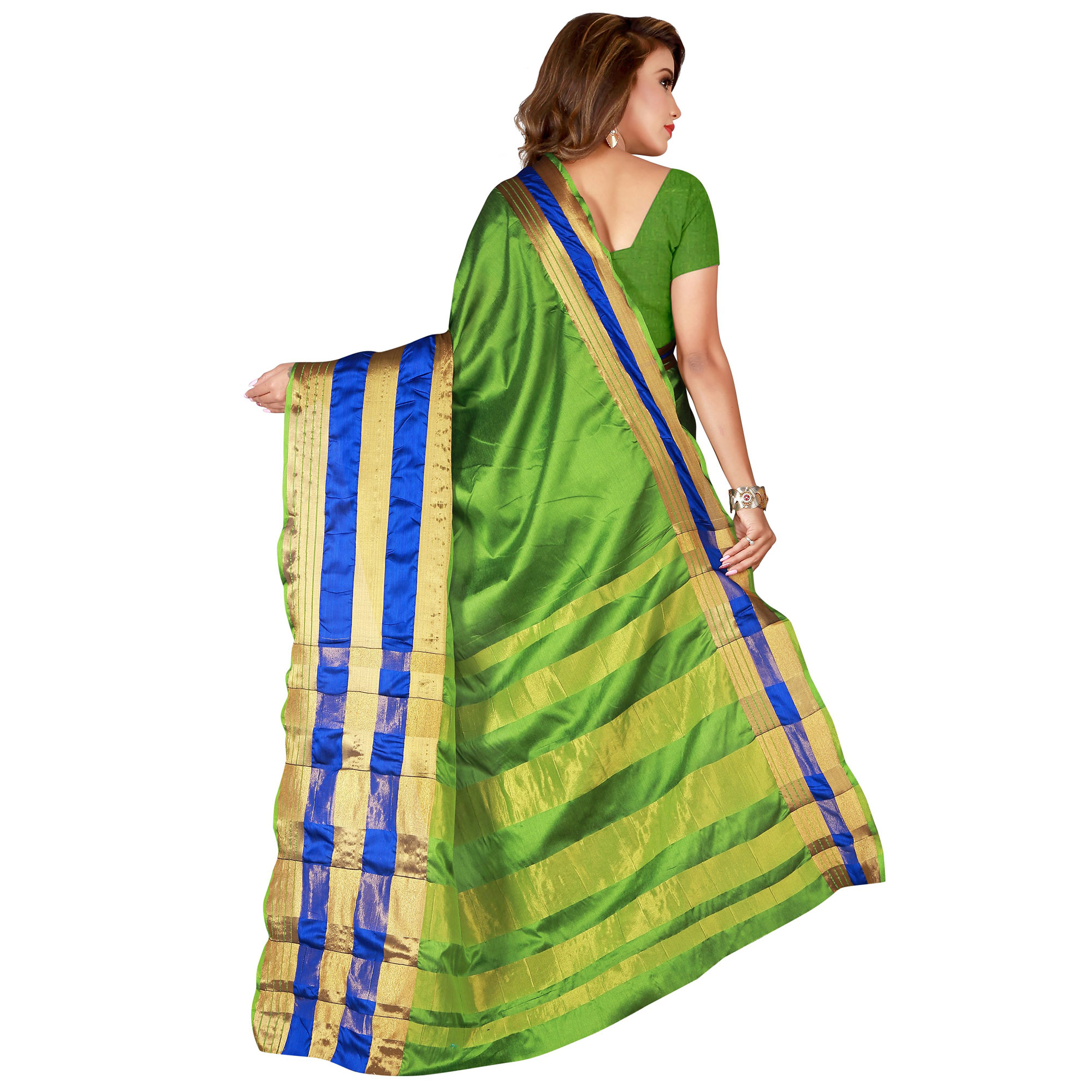 Captivating Green Colored Casual Wear Cotton Saree