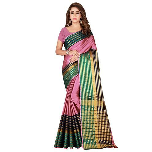 Innovative Light Pink Colored Casual Wear Cotton Saree