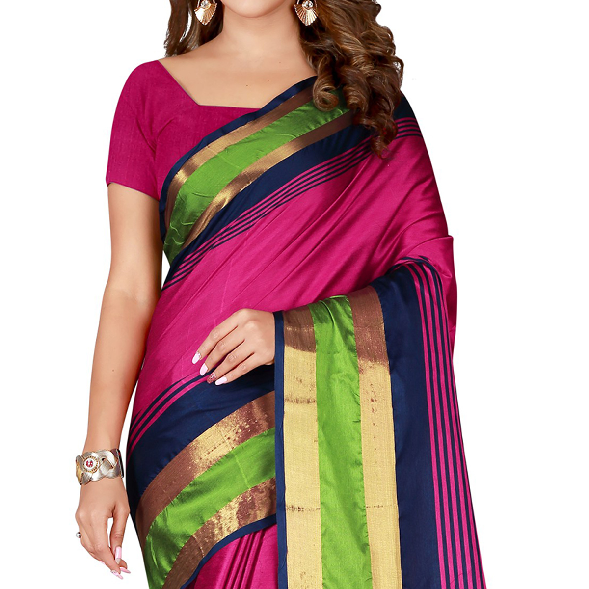 Eye-catching Pink Colored Casual Wear Cotton Saree