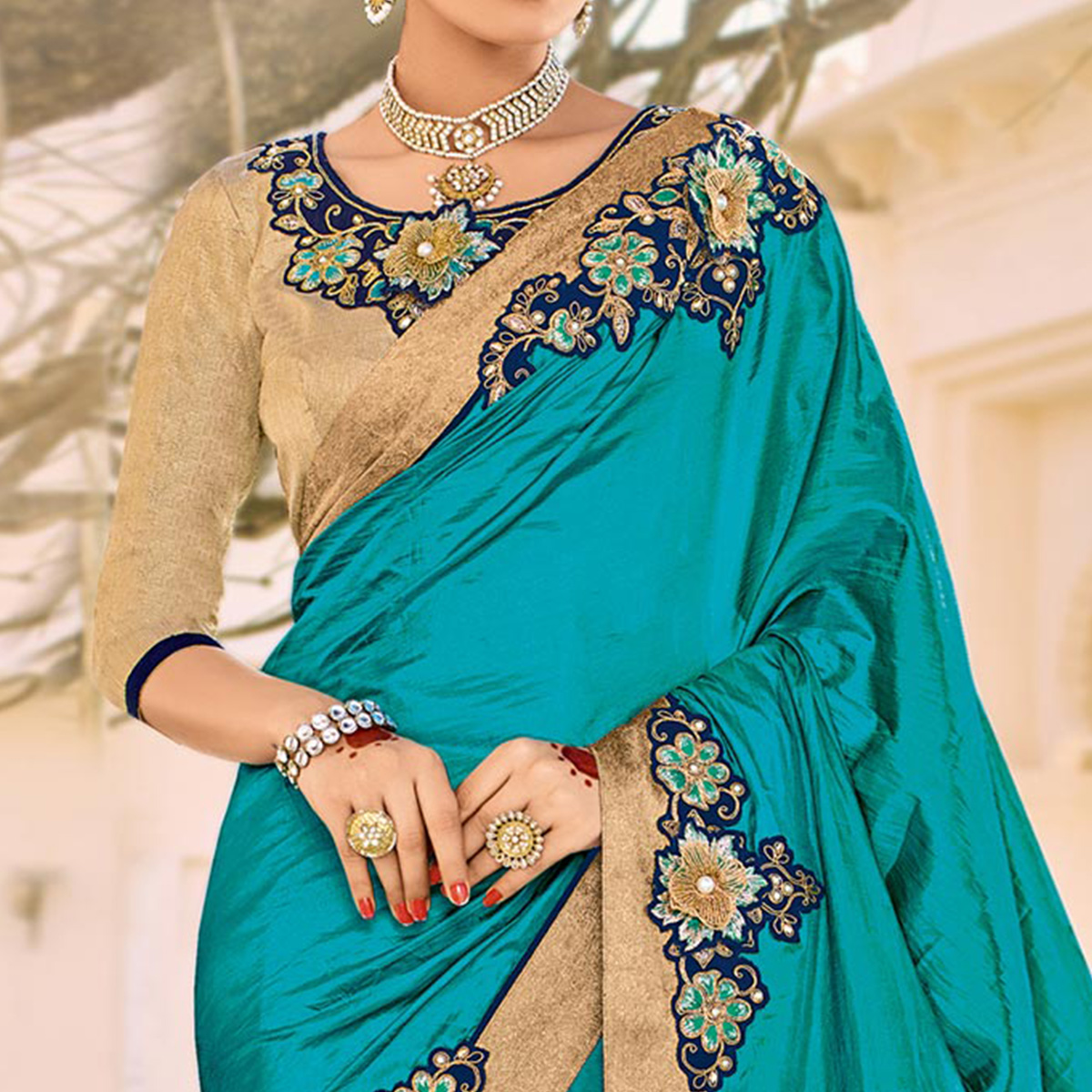 Cyan Color Floral Embroidered Work Party Wear Silk Saree