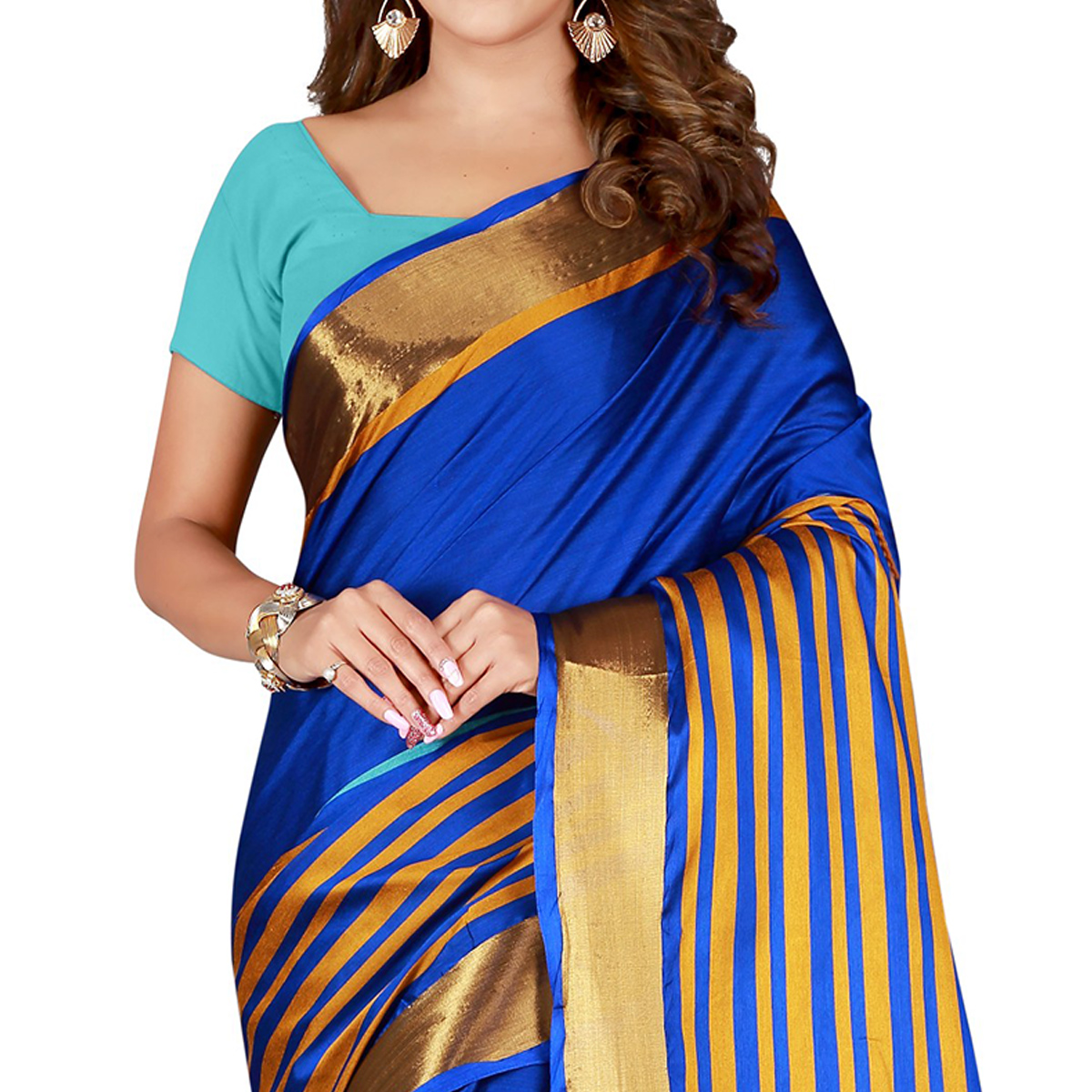 Fantastic Royal Blue Colored Casual Wear Cotton Saree