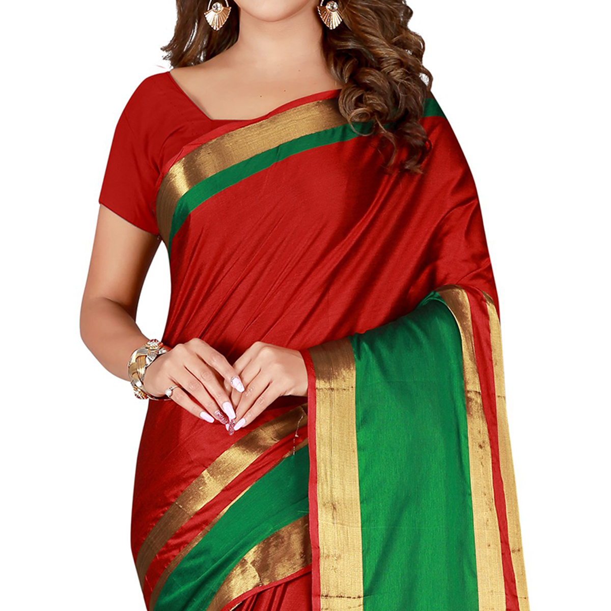 Amazing Red Colored Casual Wear Cotton Saree
