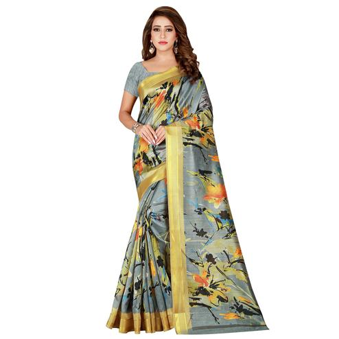 Mesmerising Gray Colored Casual Printed Kota Silk Saree