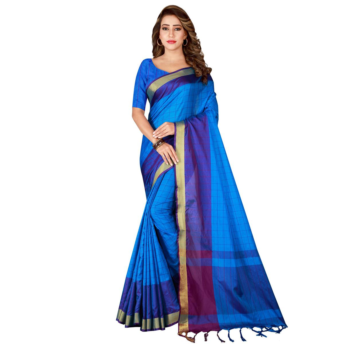 Ethnic Firozi Colored Casual Wear Art Silk Saree