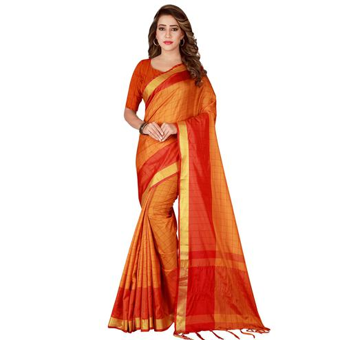 Ravishing Mustard Yellow Colored Casual Wear Art Silk Saree