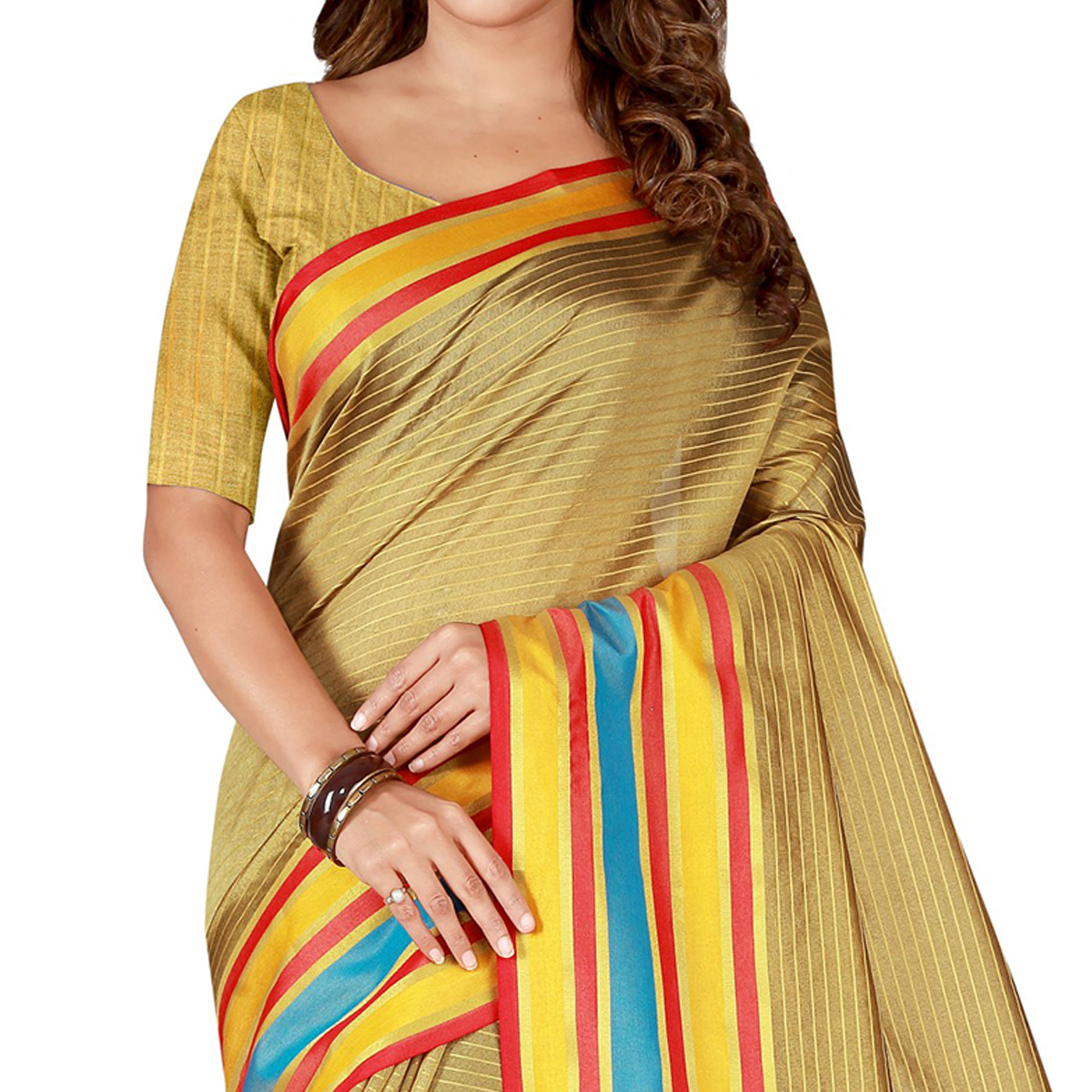 Surpassing Beige Colored Casual Wear Poly Cotton Saree
