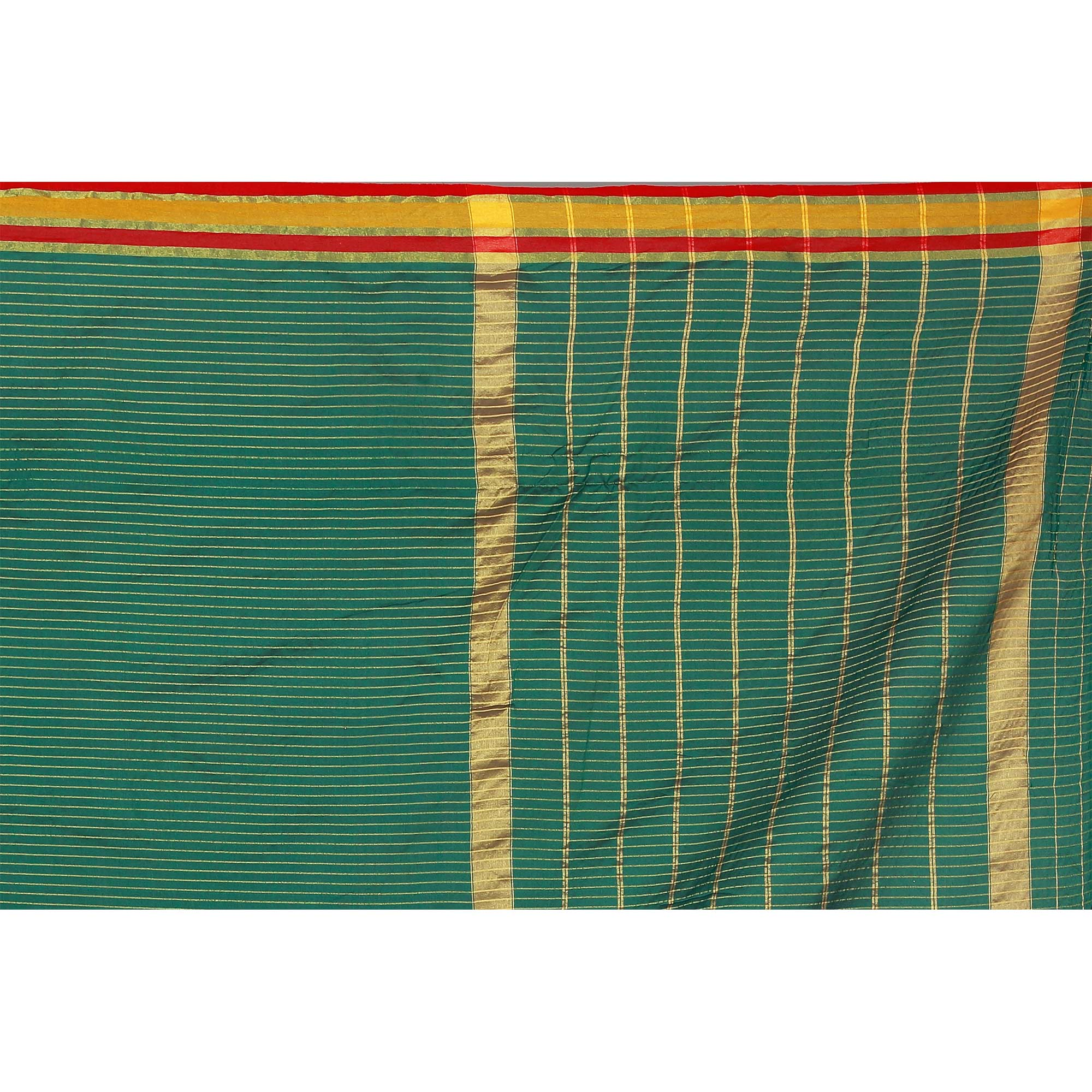 Beautiful Turquoise Green Colored Casual Wear Poly Cotton Saree