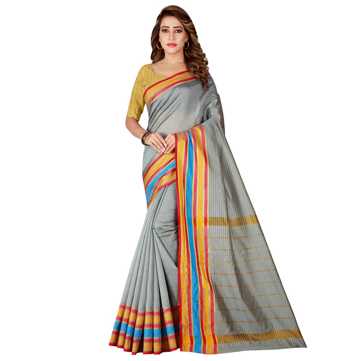 Graceful Gray Colored Casual Wear Poly Cotton Saree