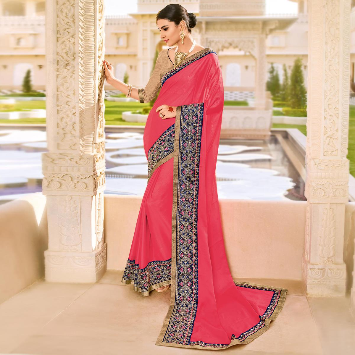Pink Embroidered Work Party Wear Georgette Saree