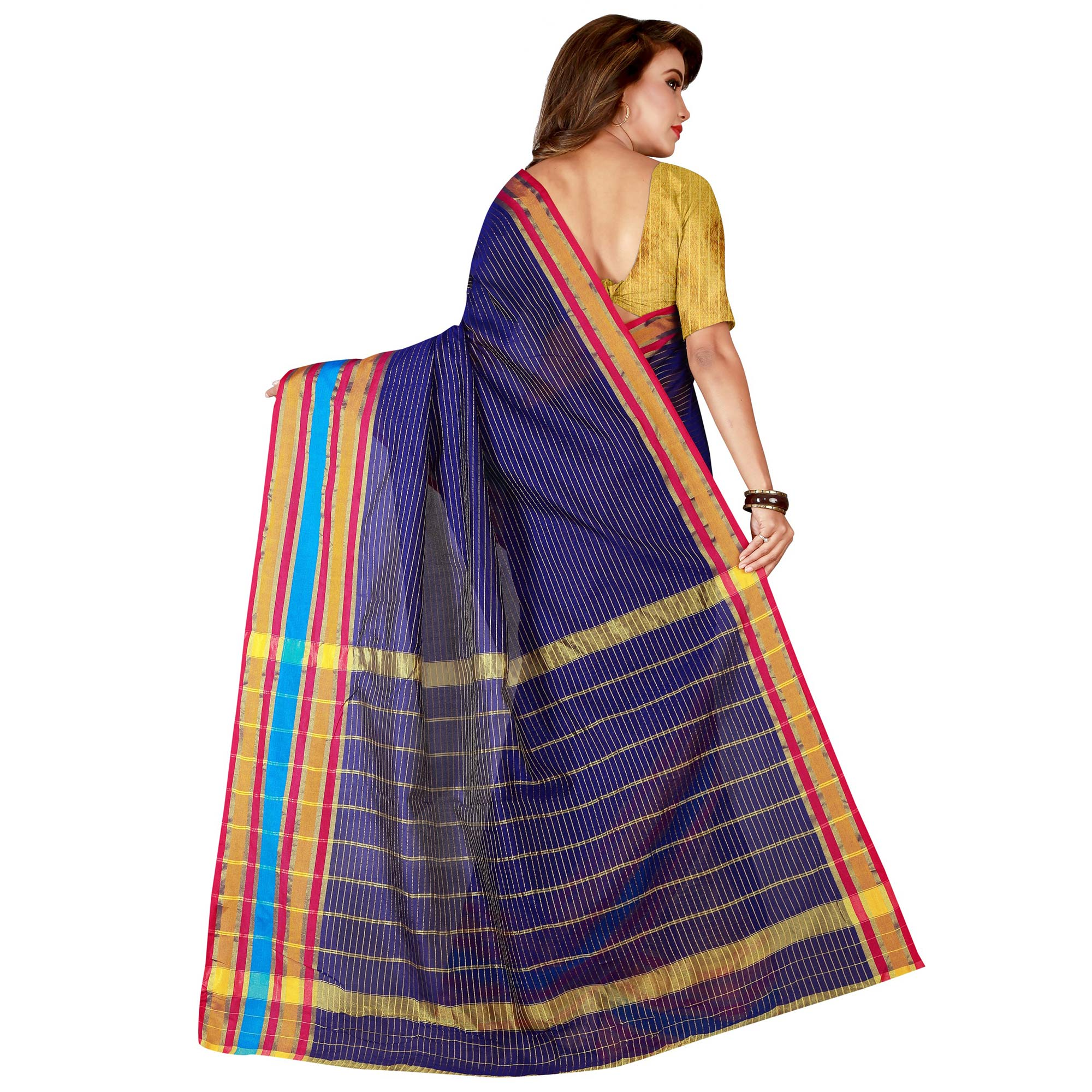 Gorgeous Navy Blue Colored Casual Wear Poly Cotton Saree