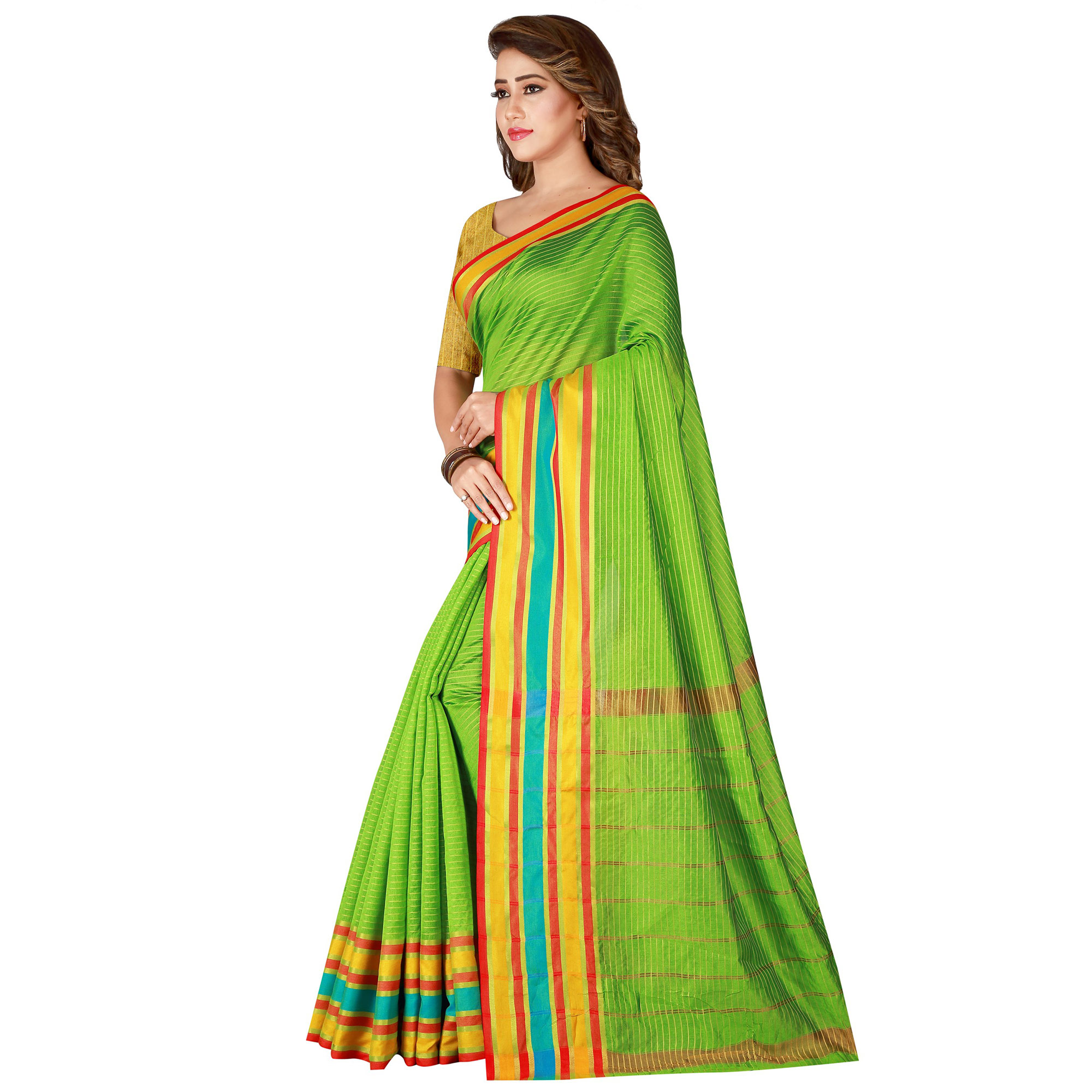 Blissful Green Colored Casual Wear Poly Cotton Saree