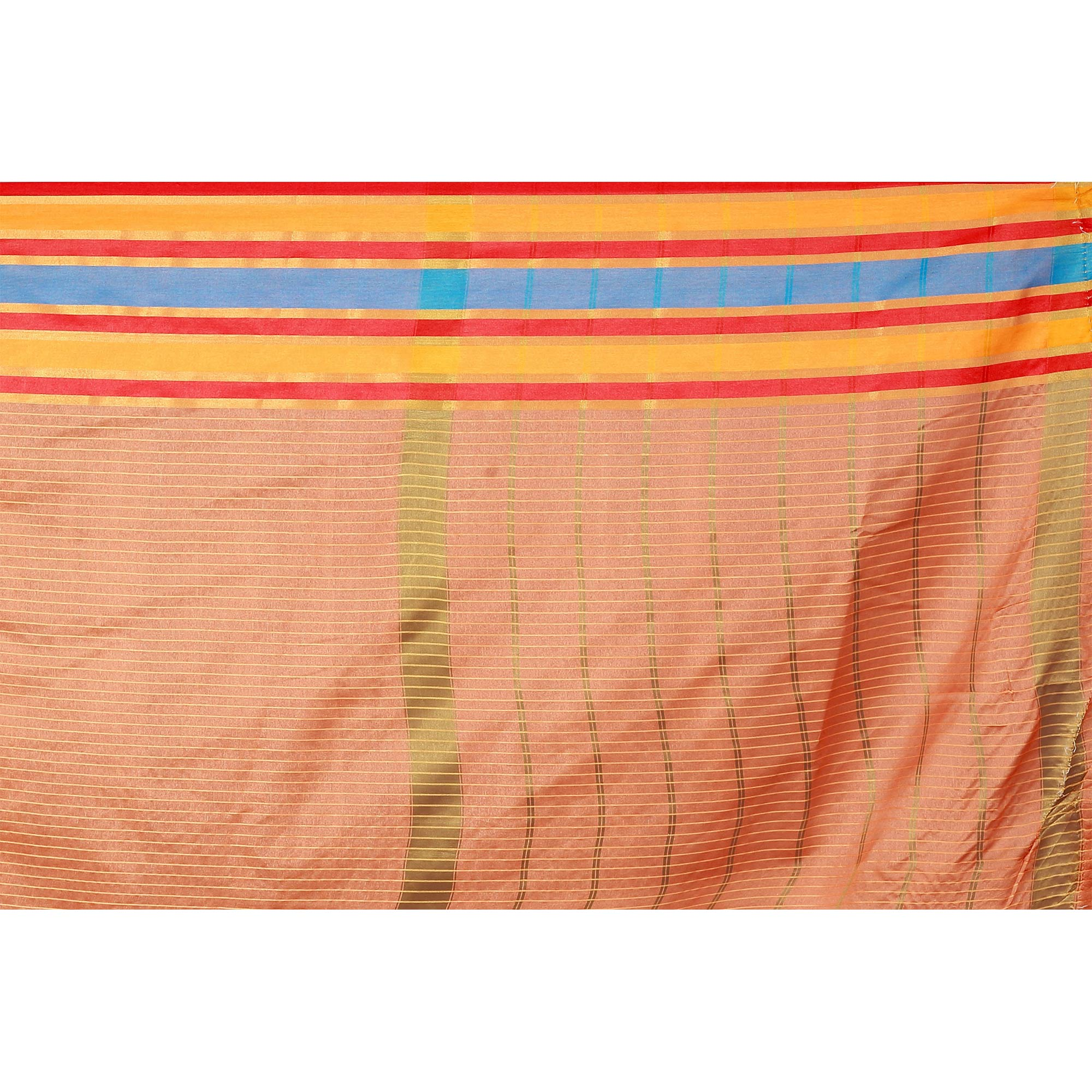 Majesty Peach Colored Casual Wear Poly Cotton Saree