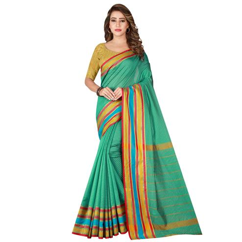 Impressive Rama Green Colored Casual Wear Poly Cotton Saree