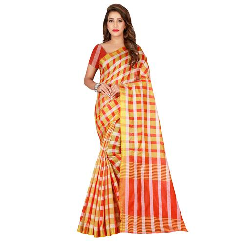 Pleasance Chiku Colored Casual Printed Silk Saree