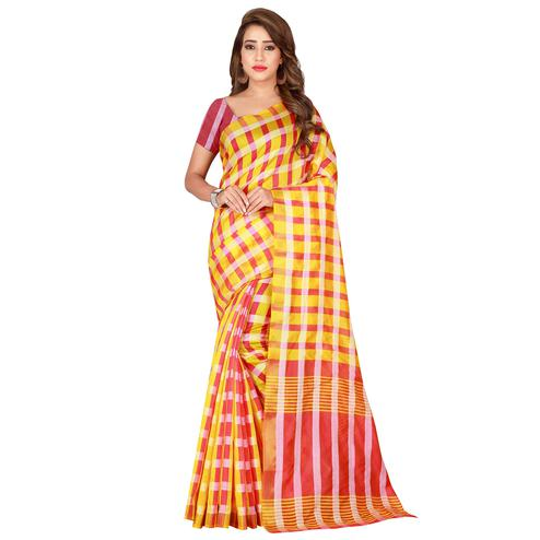 Breathtaking Golden Yellow Colored Casual Printed Silk Saree