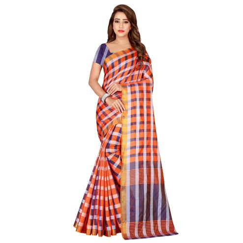 Intricate Orange Colored Casual Printed Silk Saree