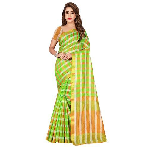 Arresting Green Colored Casual Printed Silk Saree