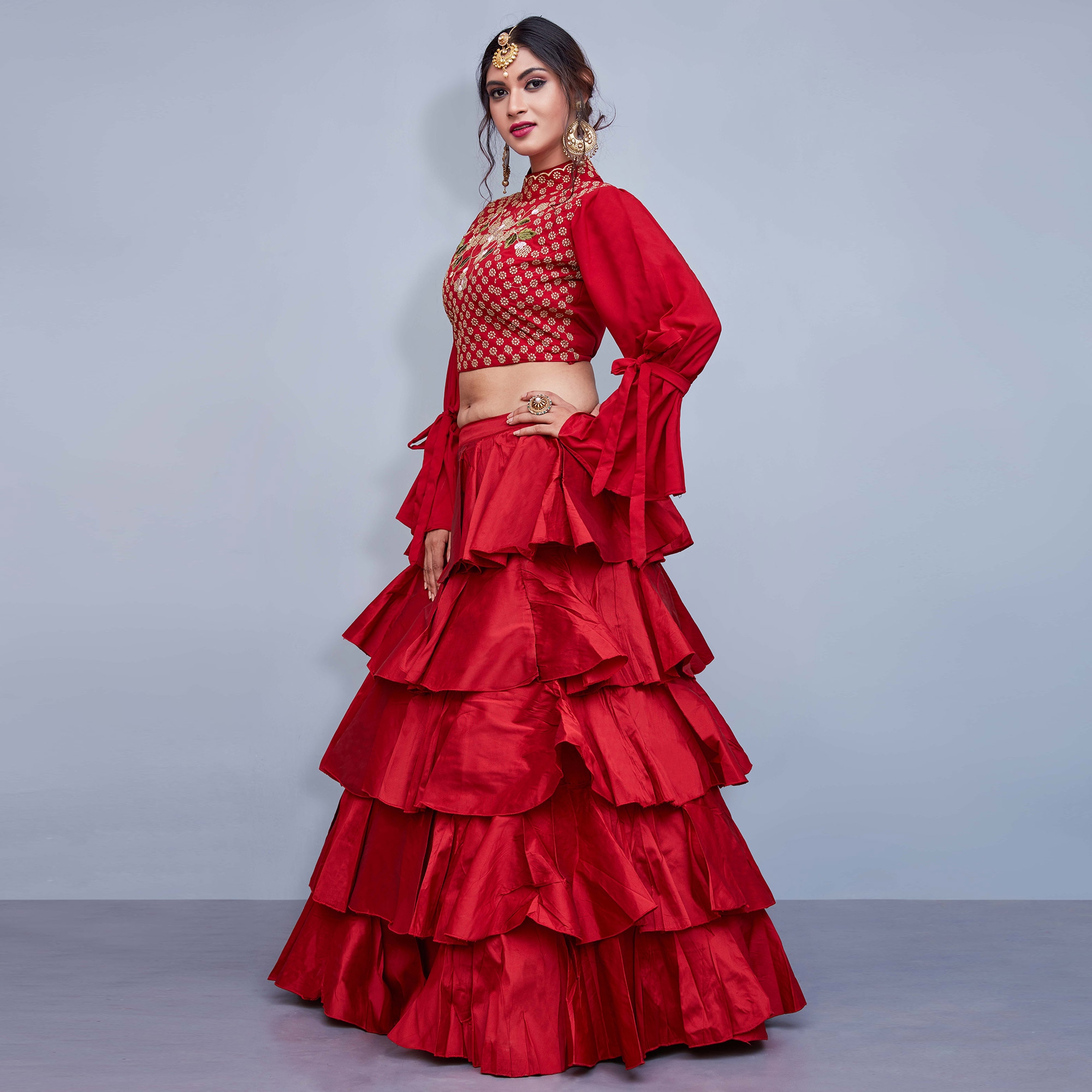 Red Colored Partywear Embroidered Crepe Lehenga Choli