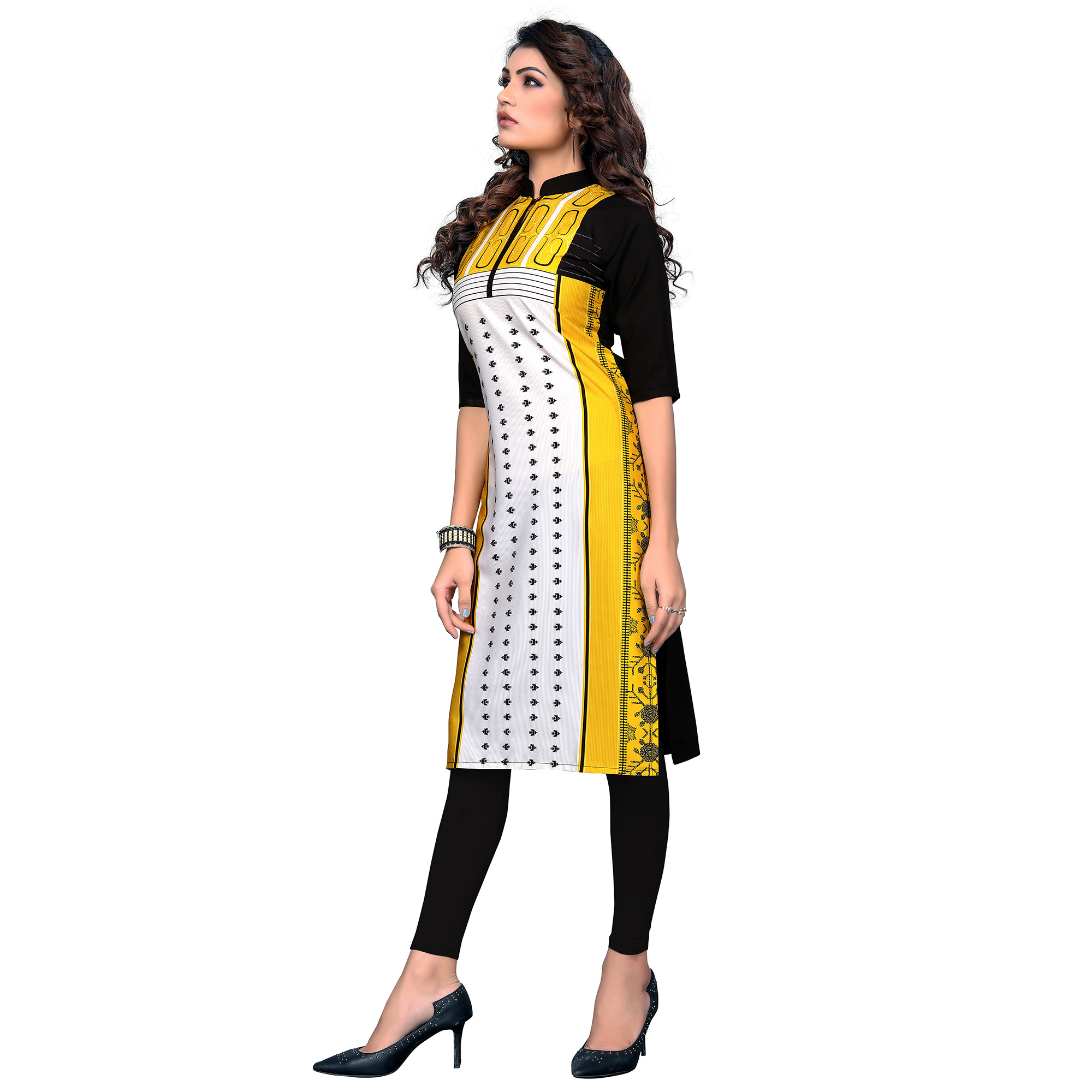 Exceptional Yellow-White Colored Casual Digital Printed Crepe Kurti
