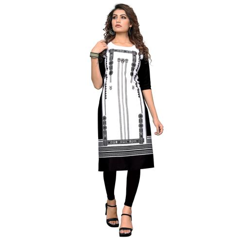 Mesmeric White-Black Colored Casual Digital Printed Crepe Kurti