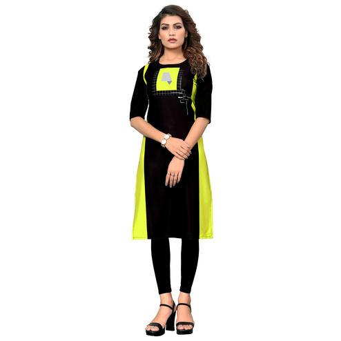 Unique Black-Green Colored Casual Digital Printed Crepe Kurti