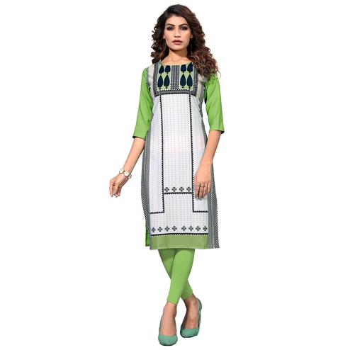 Demanding White-Pista Green Colored Casual Digital Printed Crepe Kurti