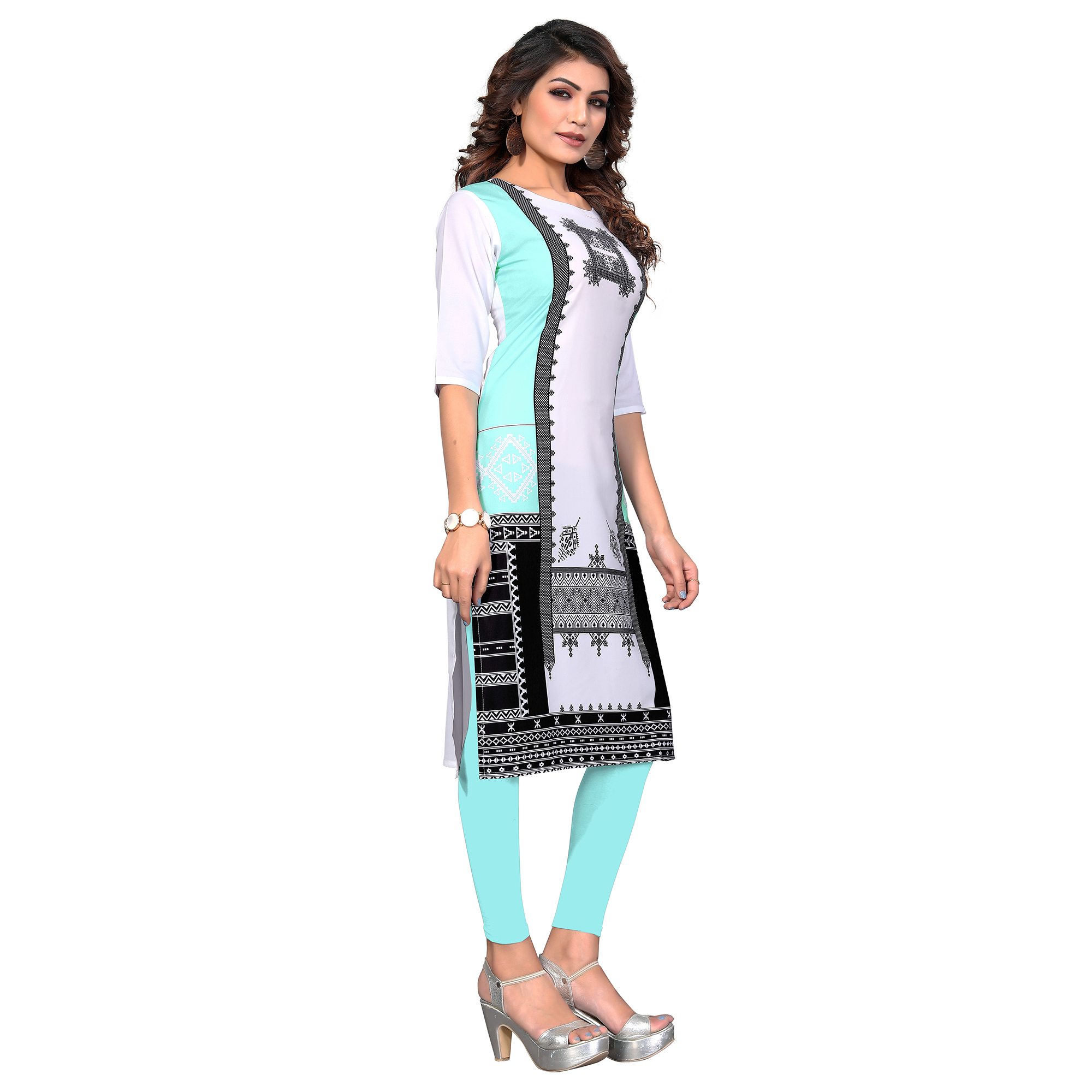 Refreshing White-Aqua Blue Colored Casual Digital Printed Crepe Kurti