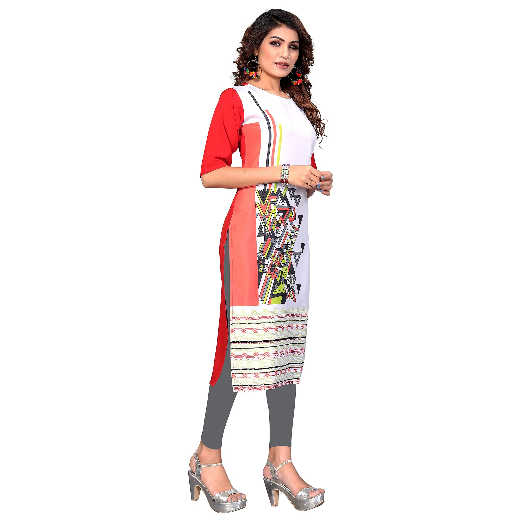 Magnetic White-Red Colored Casual Digital Printed Crepe Kurti
