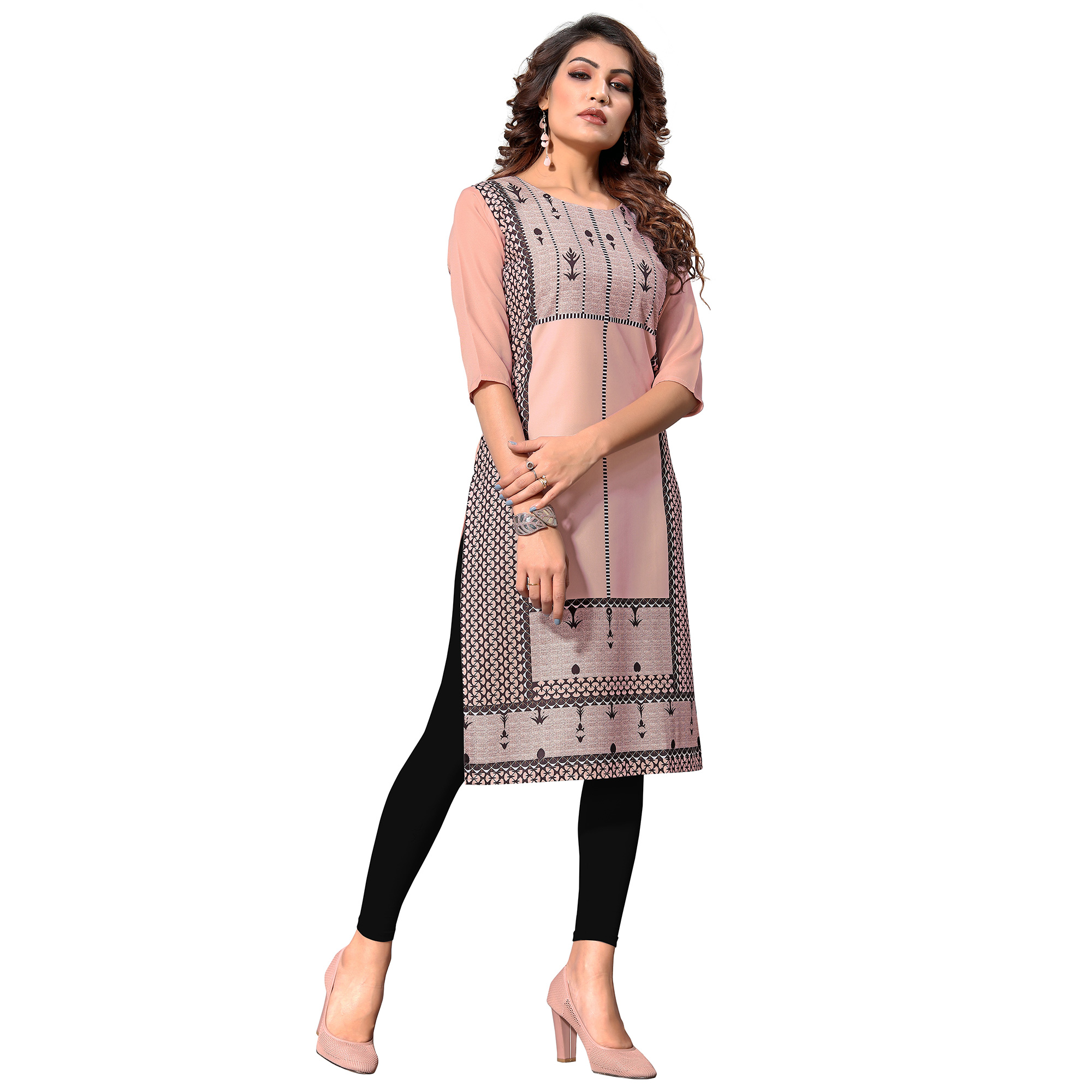 Hypnotic Peach Colored Casual Digital Printed Crepe Kurti
