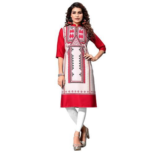 Flattering White-Red Colored Casual Digital Printed Crepe Kurti