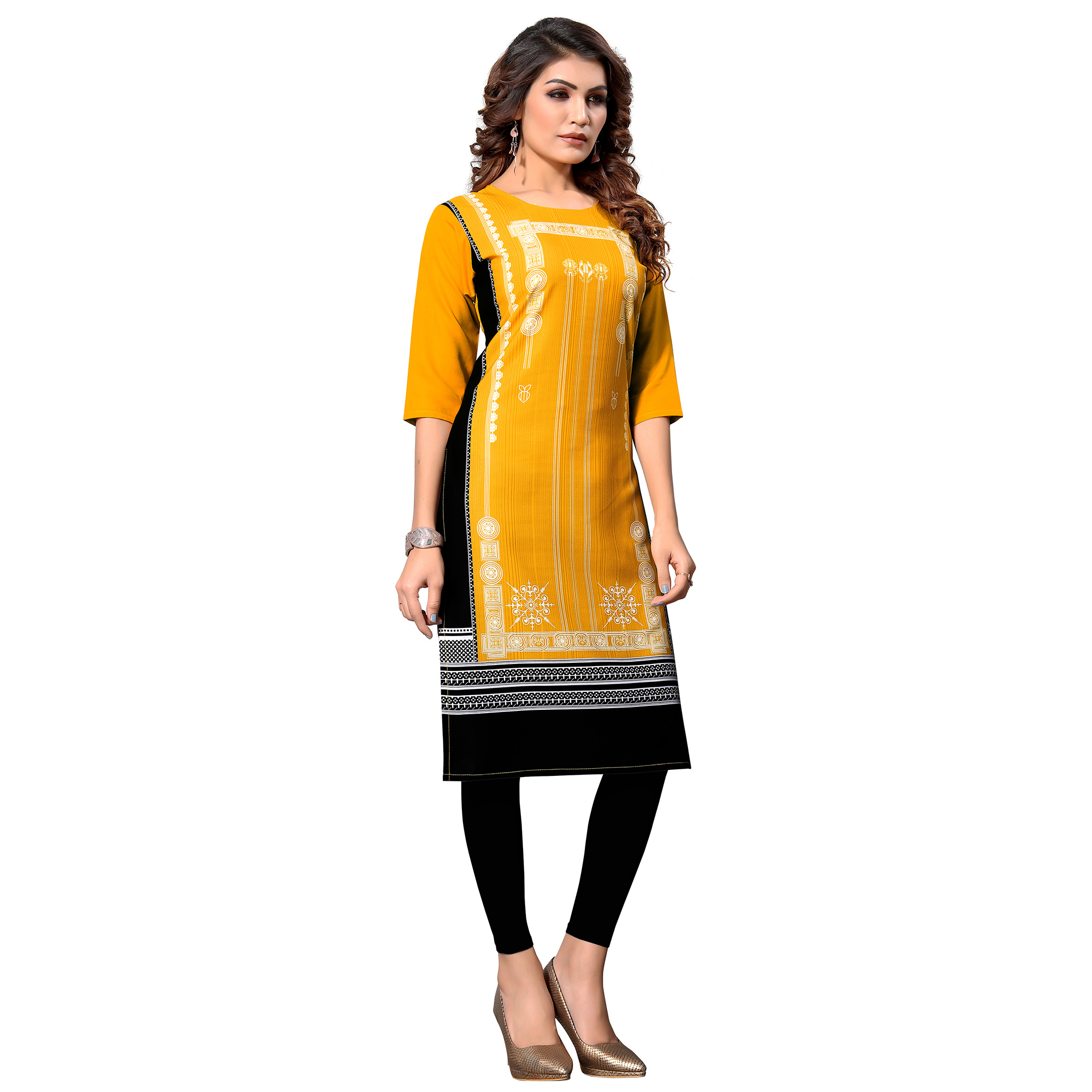 Excellent Yellow Colored Casual Digital Printed Crepe Kurti