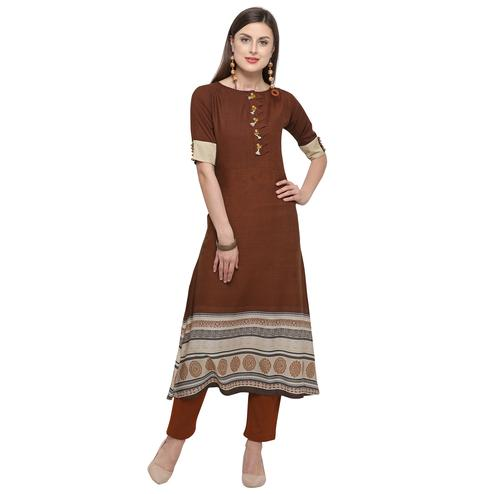 Flirty Brown Colored Casual Printed Rayon Kurti