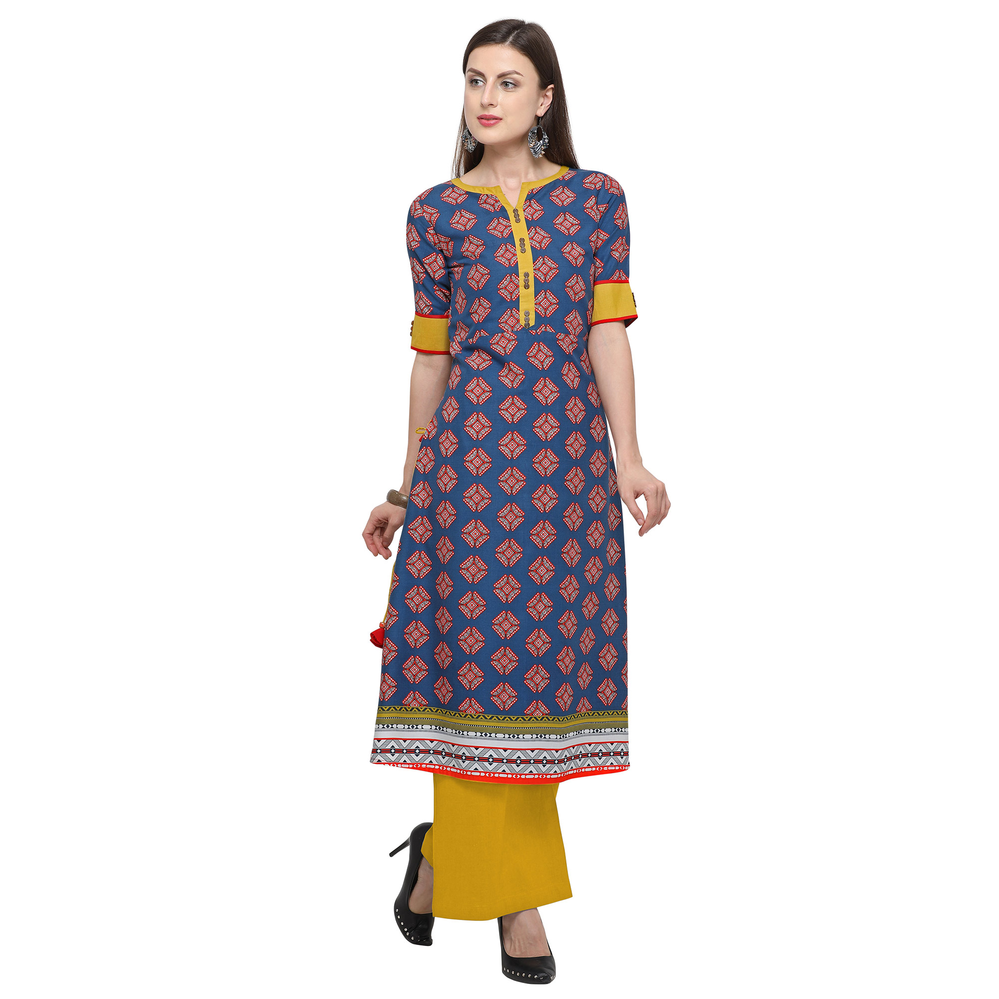 Impressive Blue Colored Casual Printed Rayon Kurti