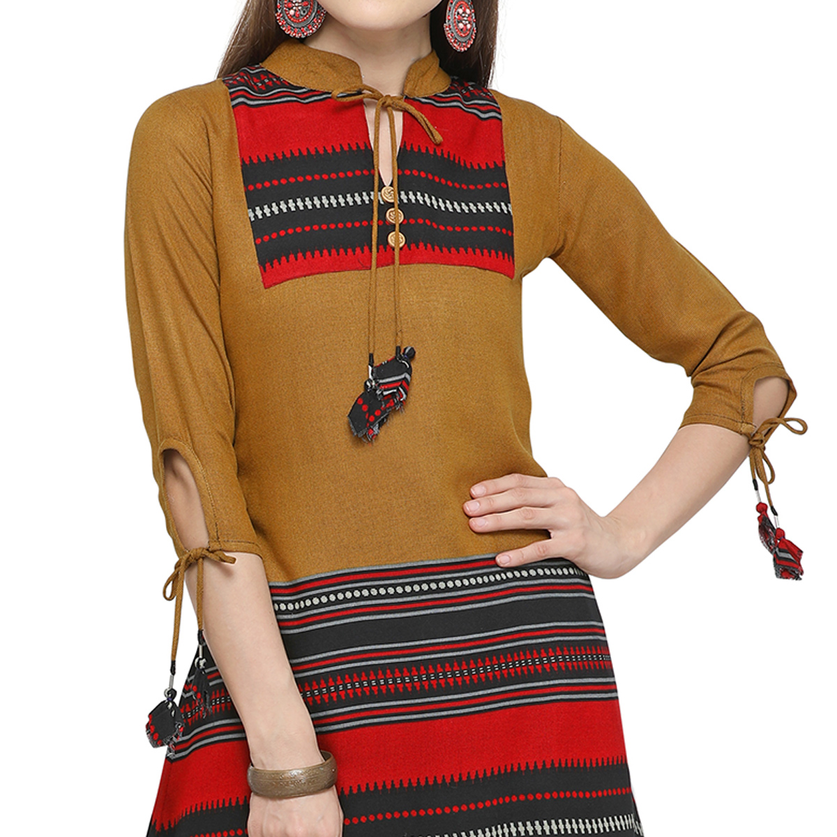Attractive Dark Mustard Yellow Colored Casual Printed Cotton Kurti