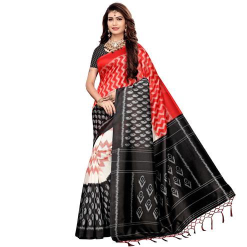 Elegant Red-Black Colored Festive Wear Printed Art Silk Saree