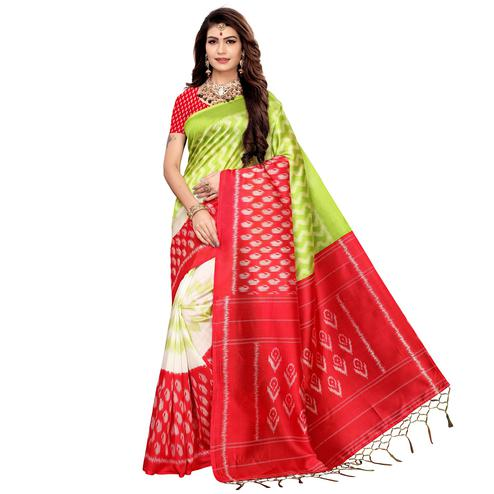Pleasant Red-Green Colored Festive Wear Printed Art Silk Saree
