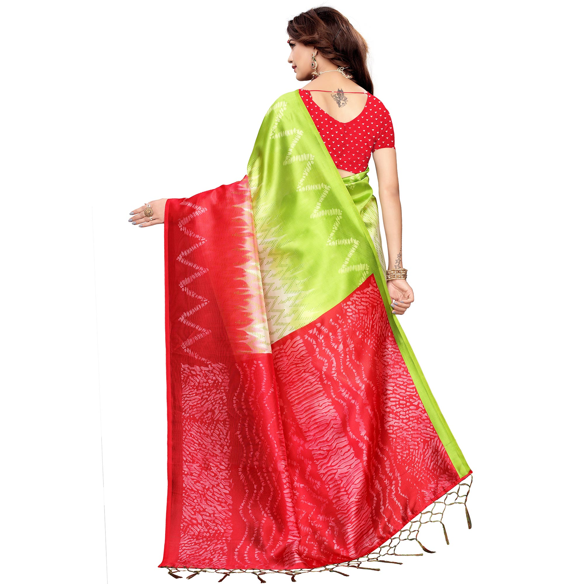 Energetic Red-Green Colored Festive Wear Printed Art Silk Saree