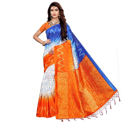 Gleaming Orange-Blue Colored Festive Wear Printed Art Silk Saree