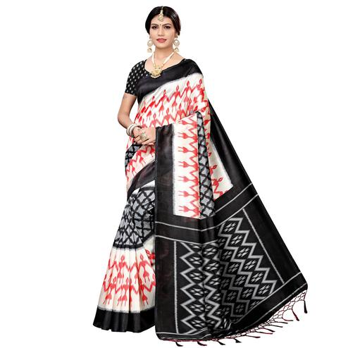Unique White-Black Colored Festive Wear Printed Art Silk Saree
