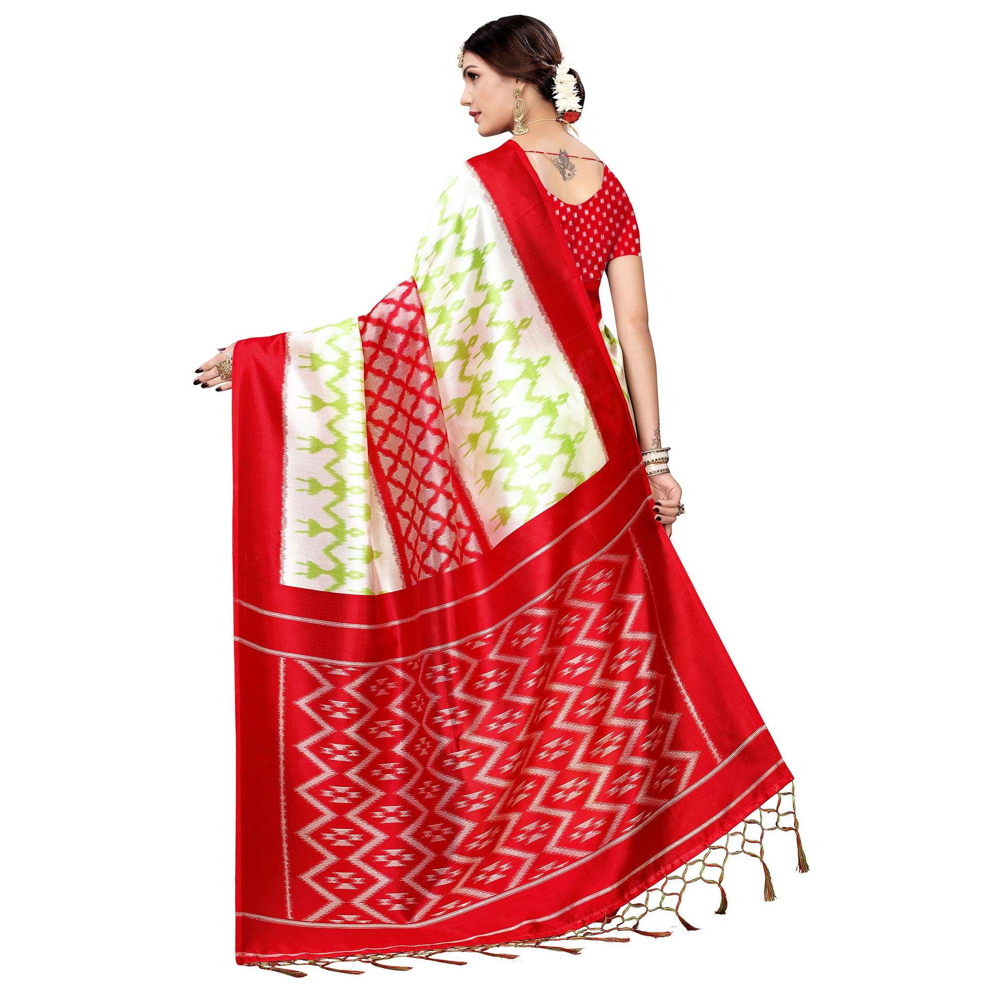 Refreshing White-Red Colored Festive Wear Printed Art Silk Saree