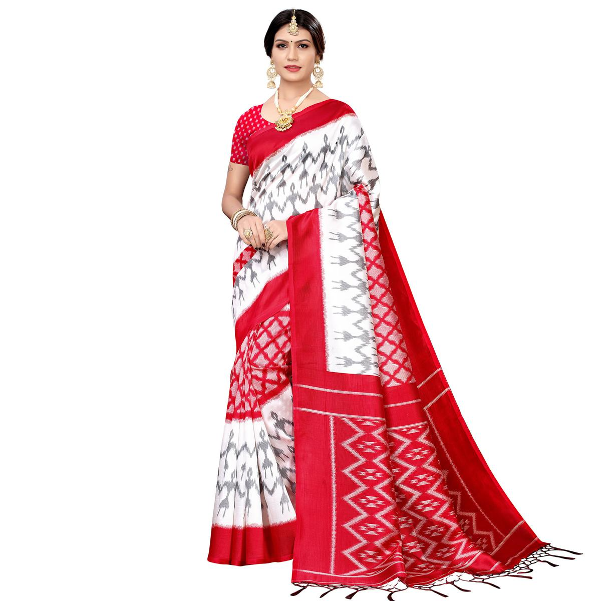 Flattering White-Red Colored Festive Wear Printed Art Silk Saree