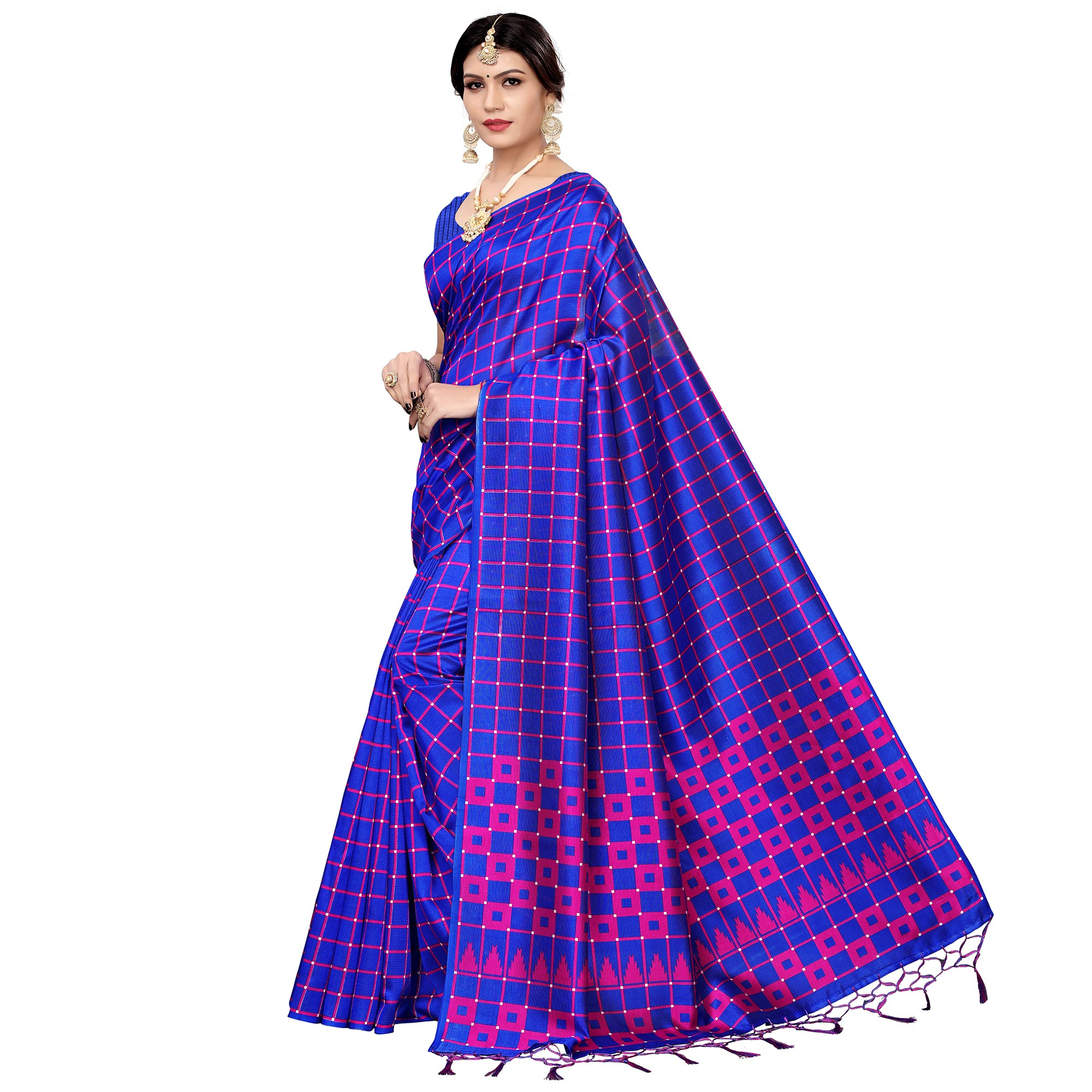 Preferable Royal Blue Colored Festive Wear Printed Art Silk Saree