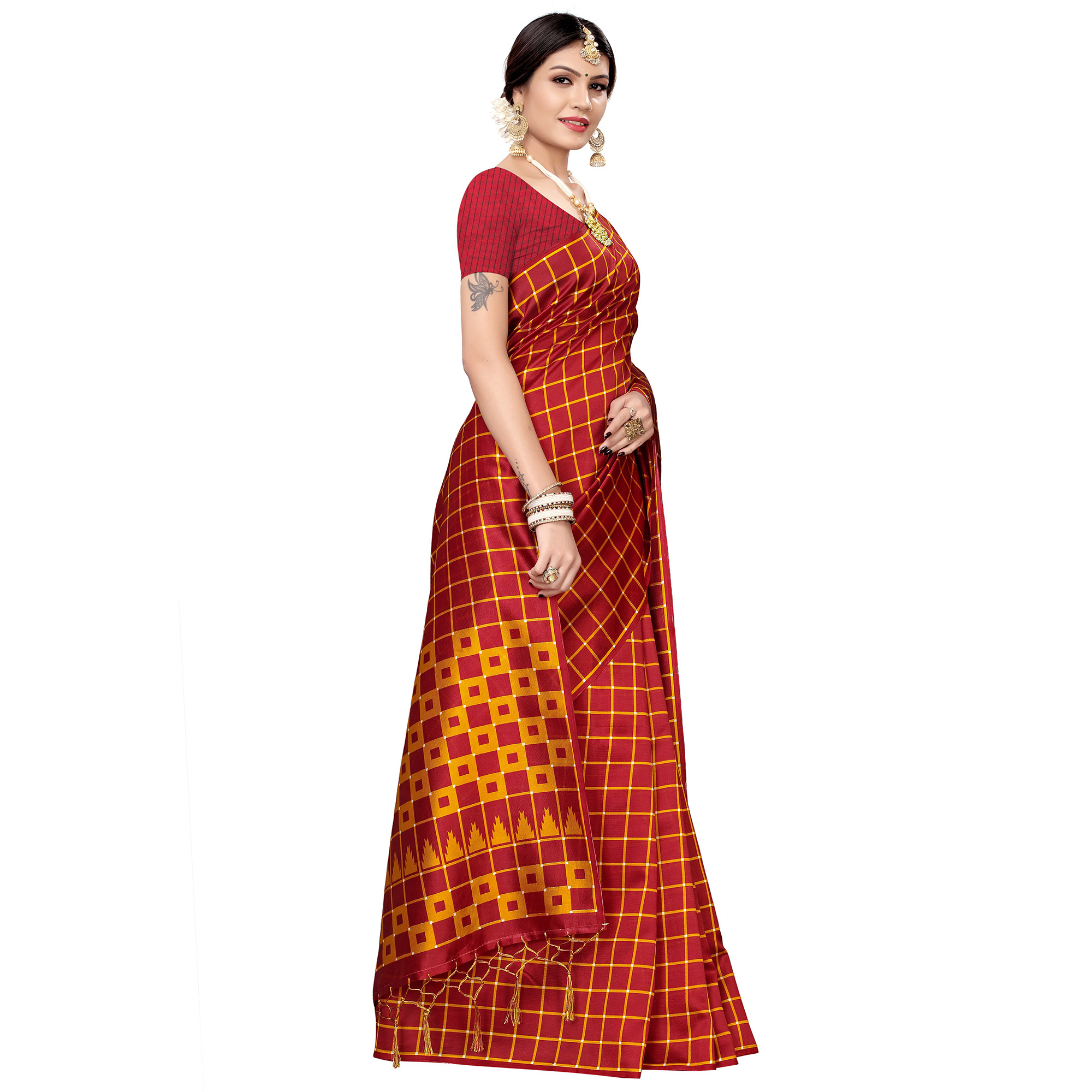 Marvellous Dark Red Colored Festive Wear Printed Art Silk Saree