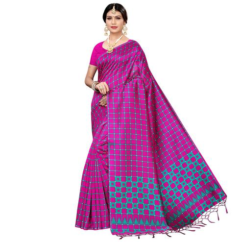 Flamboyant Pink Colored Festive Wear Printed Art Silk Saree