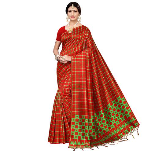 Pretty Red Colored Festive Wear Printed Art Silk Saree