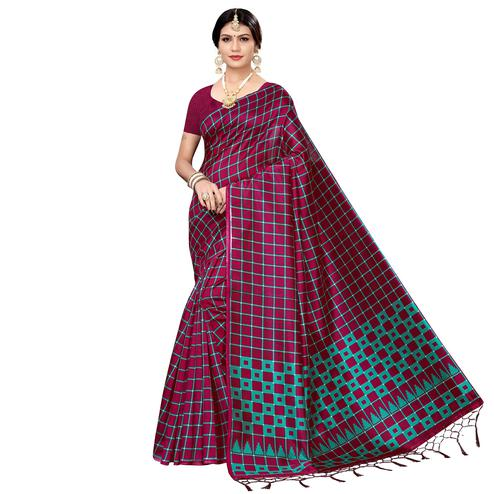 Alluring Magenta pink Colored Festive Wear Printed Art Silk Saree