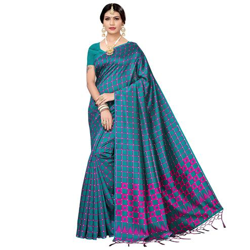 Flaunt Rama Blue Colored Festive Wear Printed Art Silk Saree