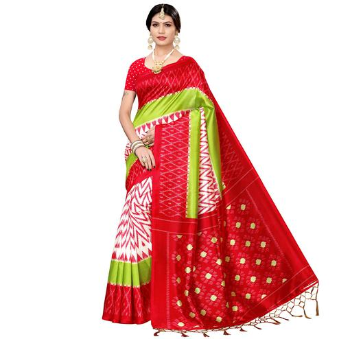 Flirty White-Red Colored Festive Wear Printed Art Silk Saree